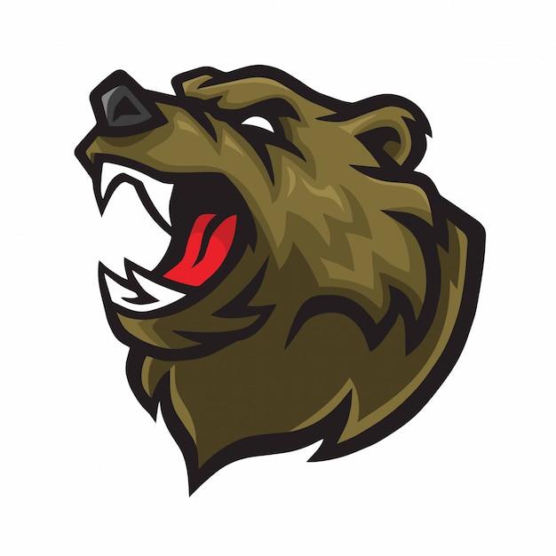 Mascotte logo ours en colère Vecteur Premium