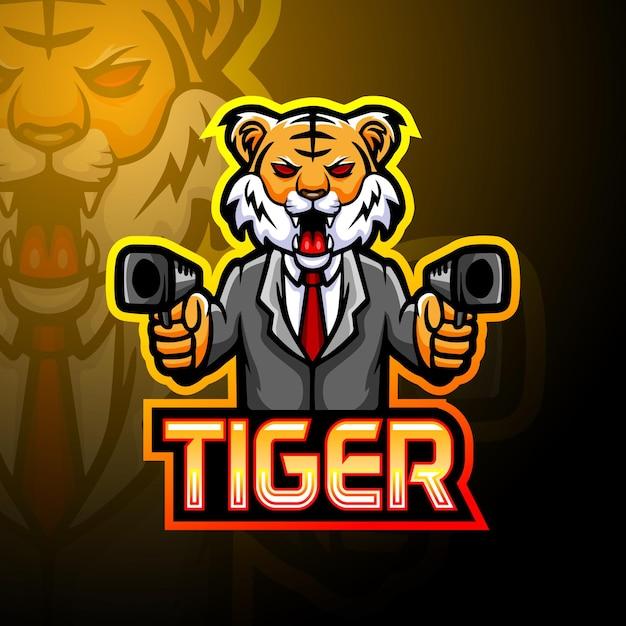 Mascotte De Logo Tiger Gun Esport Vecteur Premium