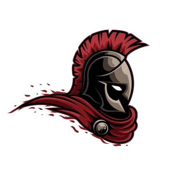 Mascotte logo warrior spartan Vecteur Premium