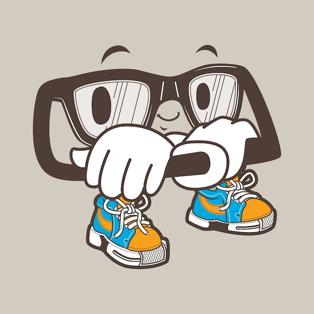 Mascotte de lunettes nerd cool Vecteur Premium