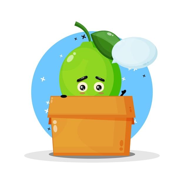 Mascotte Mignonne De Citron Vert Dans La Boîte Vecteur Premium