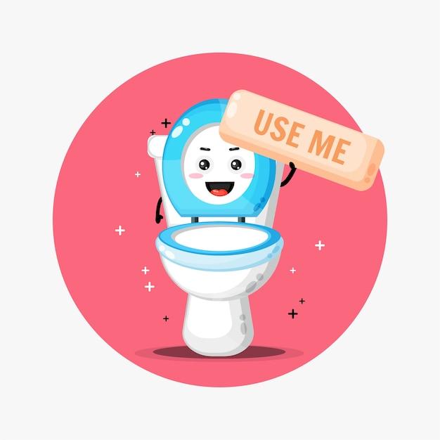La Mascotte Mignonne De Cuvette De Toilette Demande à être Utilisée Vecteur Premium