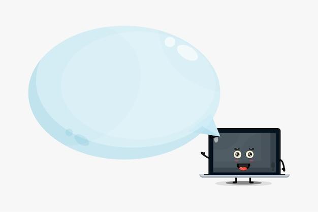 Mascotte D'ordinateur Portable Mignon Avec Discours De Bulle Vecteur Premium