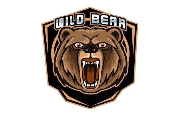 Mascotte D'ours En Colère Pour Le Logo De Sports Et D'esports Isolé Sur Fond Sombre Vecteur Premium