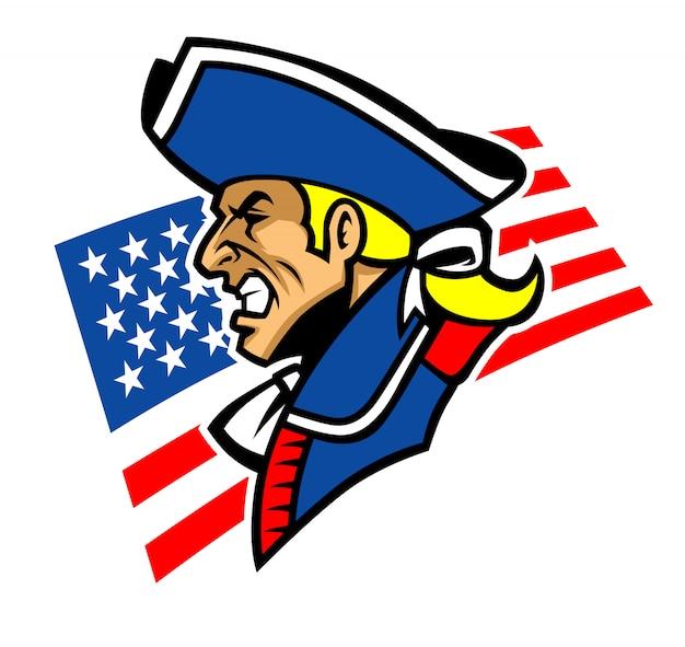 Mascotte de patriote avec fond des etats unis Vecteur Premium