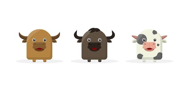 Mascotte De Personnage De Dessin Animé Mignon Vache Vecteur Premium