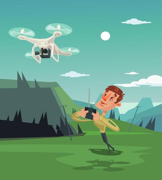 Mascotte De Personnage Heureux Homme Souriant Jouant Avec Un Drone. Vecteur Premium