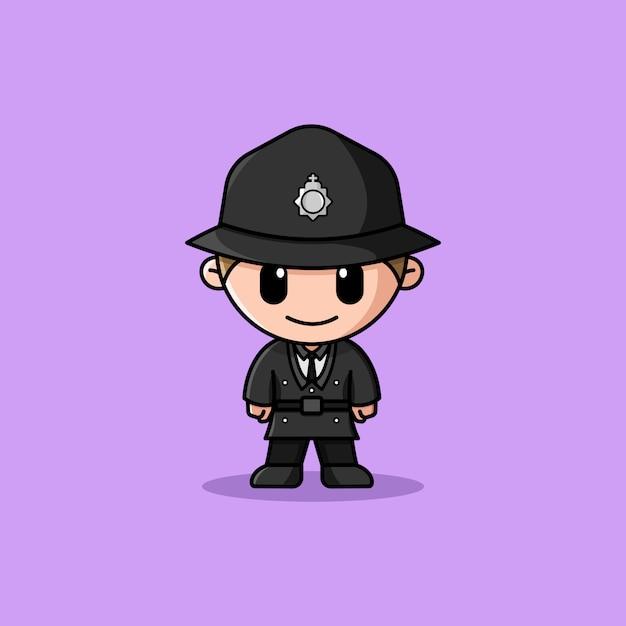 Mascotte De Personnage De Logo D'officier De Police Britannique Vecteur Premium