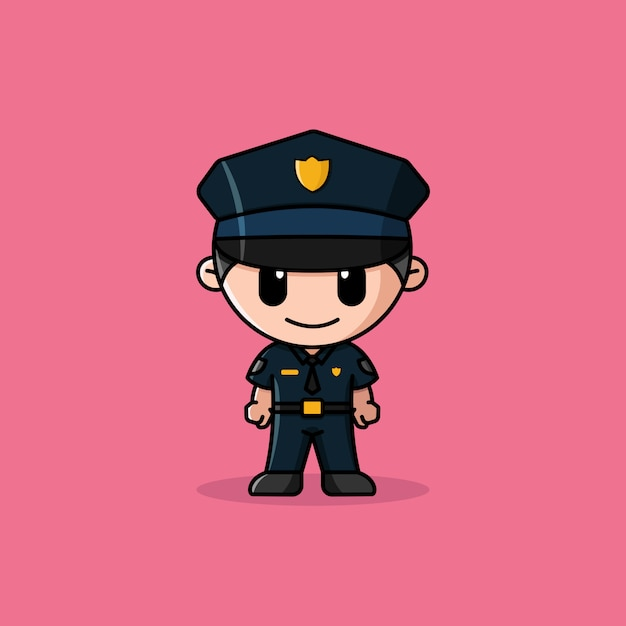 Mascotte De Personnage De Logo De Policier Vecteur Premium