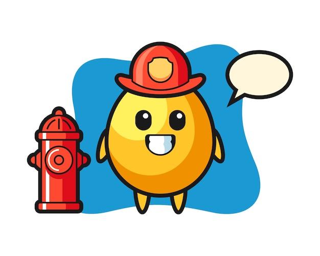 Mascotte De Personnage D'oeuf D'or En Tant Que Pompier, Design De Style Mignon Vecteur Premium
