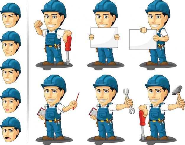 Mascotte Personnalisable De Technicien Ou Réparateur Vecteur Premium