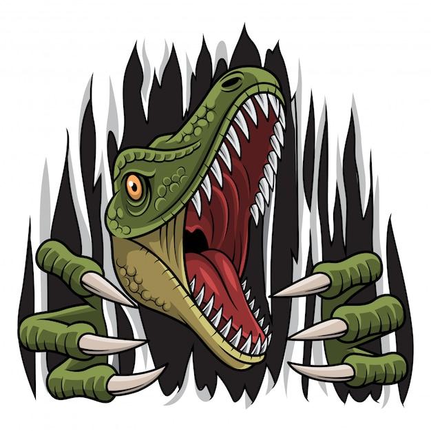 Mascotte De Raptor De Bande Dessinée Déchirant Vecteur Premium