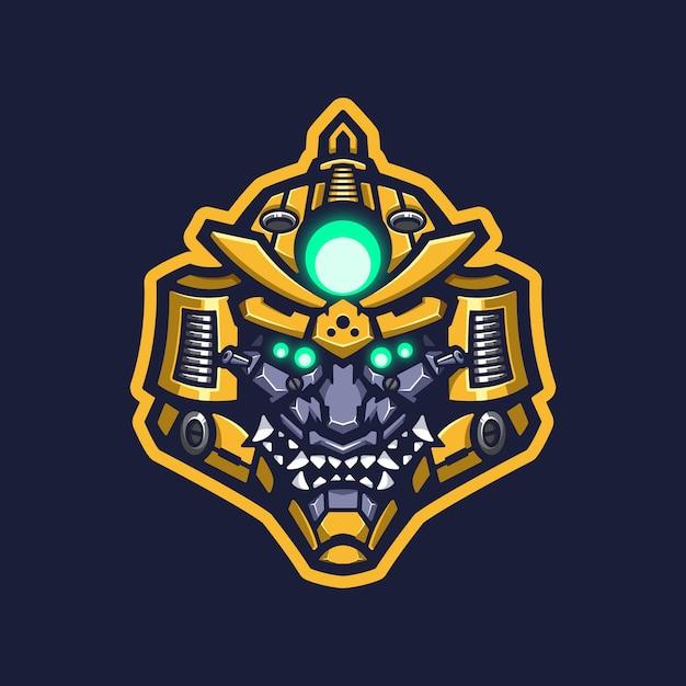 Mascotte De Robot Samurai Logo Vecteur Premium
