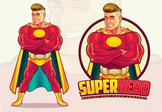 Mascotte De Super-héros Vecteur Premium