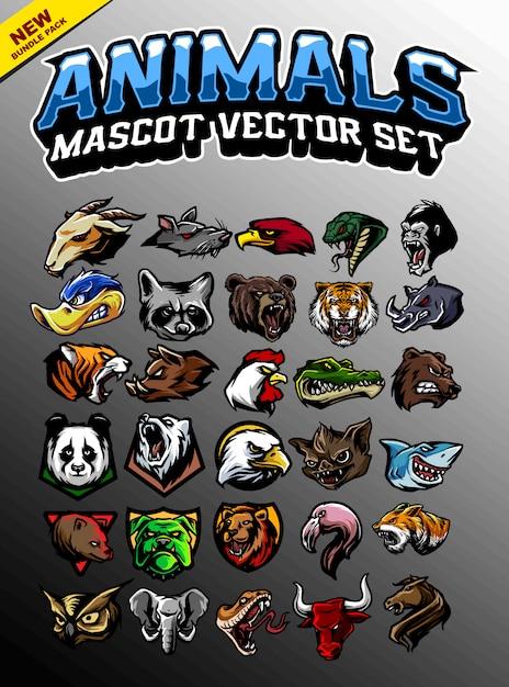 Mascotte tête d'animal Vecteur Premium
