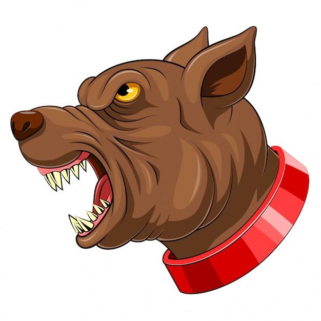 Mascotte tete de chien Vecteur Premium