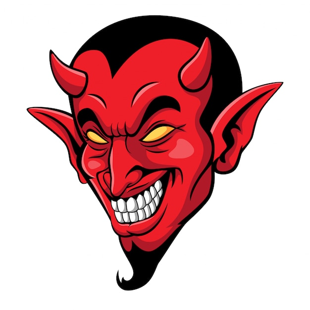 Mascotte De Tête De Diable Effrayant De Dessin Animé Vecteur Premium