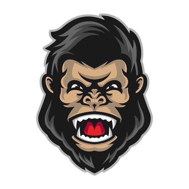 Mascotte tête de gorille Vecteur Premium
