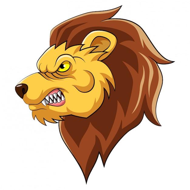 Mascotte De Tête De Lion D'illustration Vecteur Premium