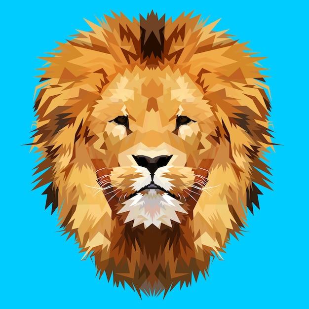 Mascotte tête de lion Vecteur Premium