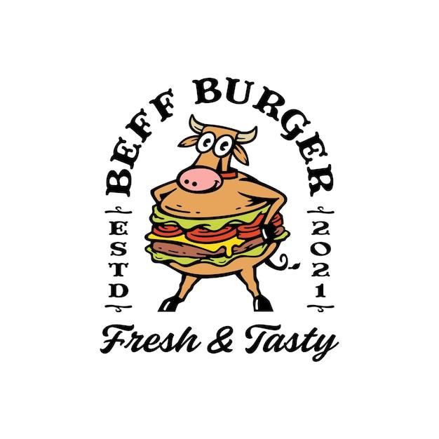 Mascotte De Vache Avec Combinaison Burger. Logo Burger De Boeuf Vecteur Premium