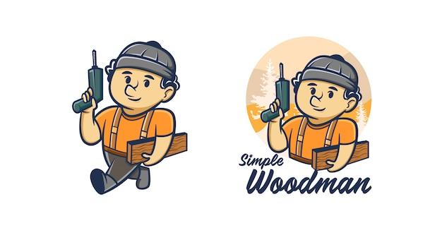 Mascotte De Woodman Handyman Logo Vecteur Premium