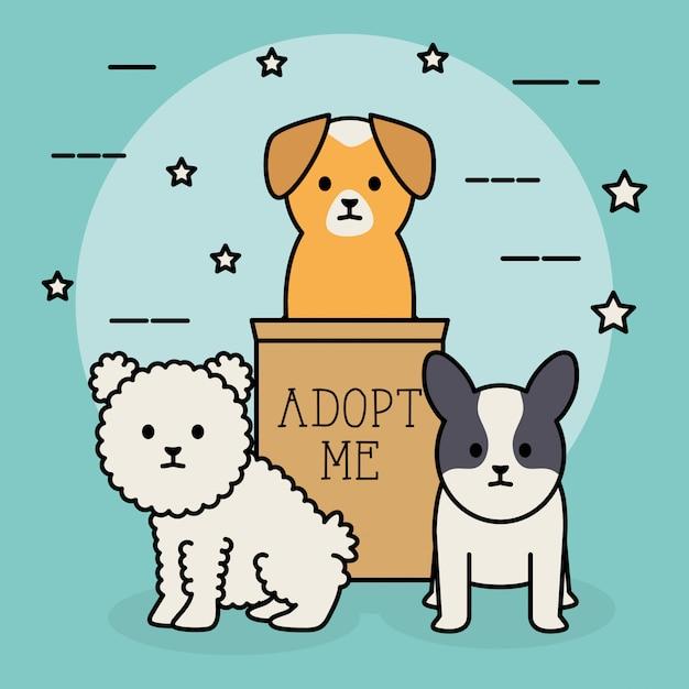 Mascottes adorables pour petits chiens avec boîte en carton Vecteur gratuit