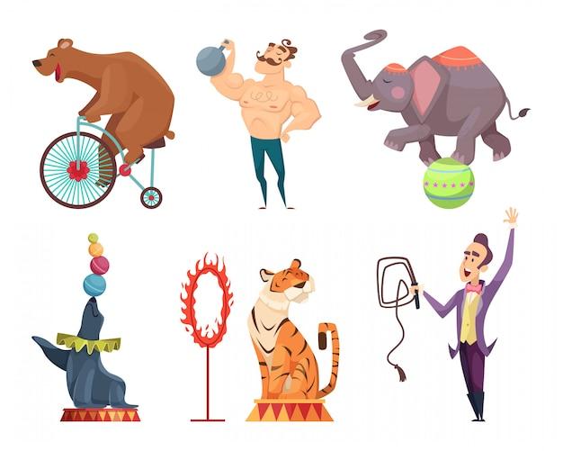 Mascottes de cirque, interprètes, jongleur et autres personnages de cirque Vecteur Premium
