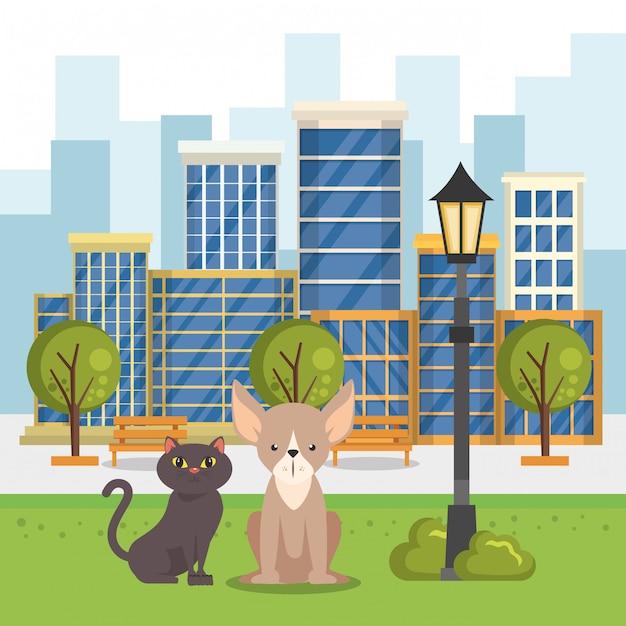 Mascottes mignonnes et icônes d'animalerie Vecteur gratuit