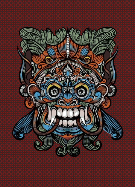 Masque Balinais Traditionnel Du Terrible Défenseur Mythique, Illustration Vectorielle Contour Vecteur Premium