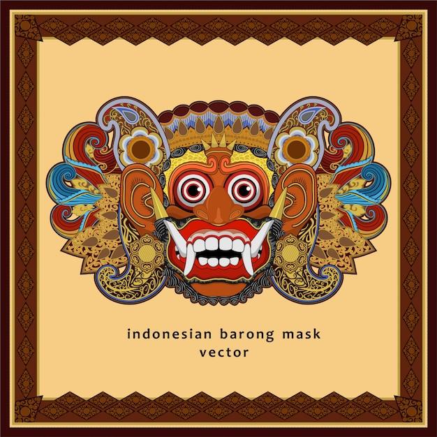 Masque de barong indonésien Vecteur Premium