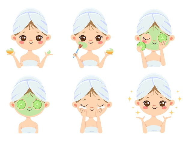 Masque De Beauté. Femme Soins De La Peau, Nettoyage Et Brossage Du Visage. Traitement Des Masques Contre L'acné Vecteur Premium
