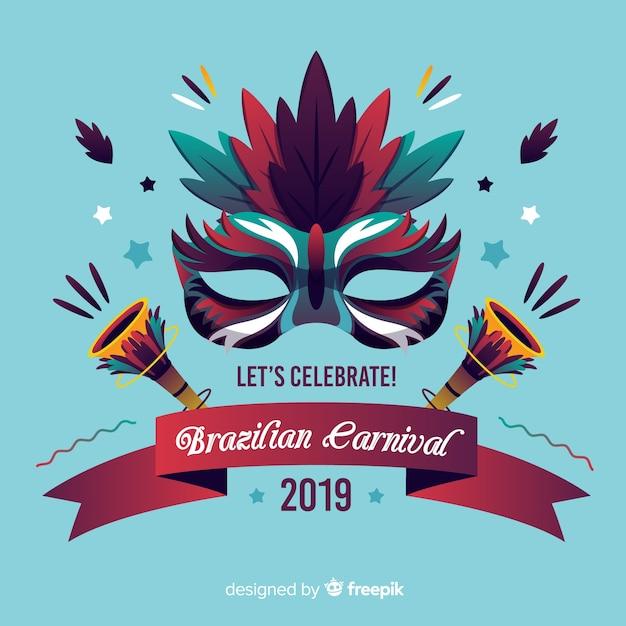 Masque de carnaval brésilien Vecteur gratuit
