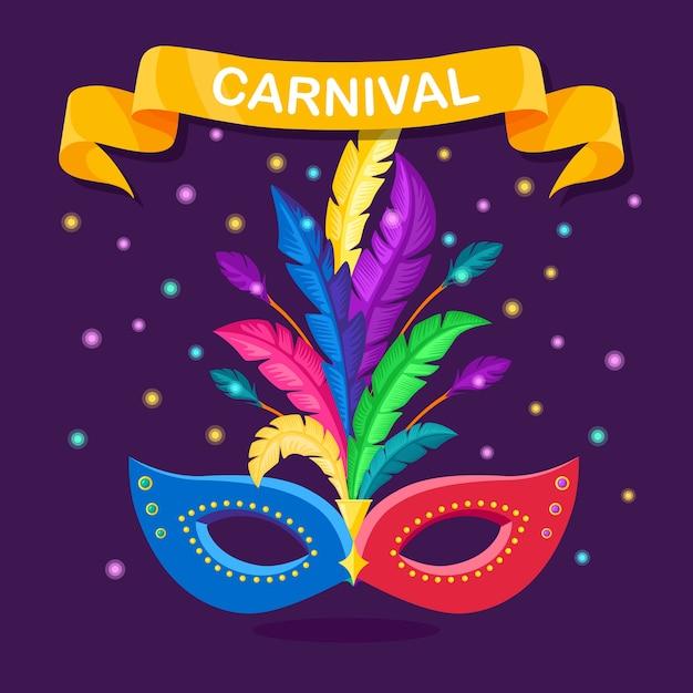 Masque De Carnaval Avec Des Plumes Sur Fond. Accessoires De Costumes Pour Les Fêtes. Mardi Gras, Festival De Venise. Vecteur Premium