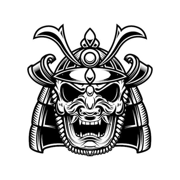 Masque Et Casque De Samouraï Japonais. Vecteur Premium