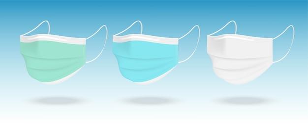 Masque Chirurgical Et Protection Antivirus Avec Boîte Isolée Sur Fond Blanc. Sécurité Respiratoire, Soins De Santé Et Conception Médicale. Vecteur Premium