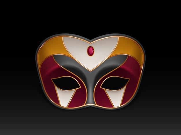 Masque colombina demi-visage décoré de pierres précieuses, rubis rouge et dorure Vecteur gratuit