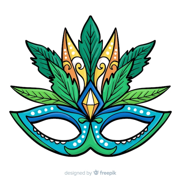 Masque coloré fond de carnaval brésilien Vecteur gratuit