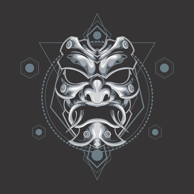 Masque de démon d'argent géométrie sacrée Vecteur Premium