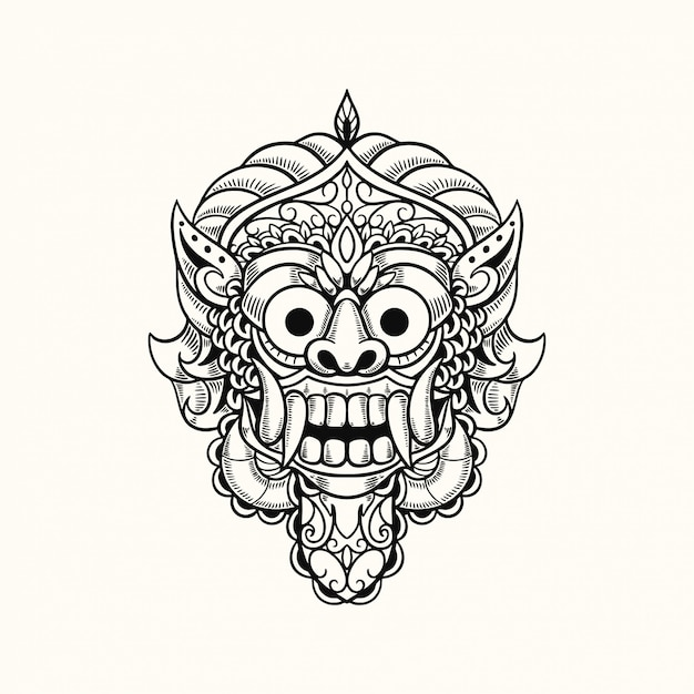 Masque De Démon Bali Indonésie Tshirt Design Illustration Vecteur Premium