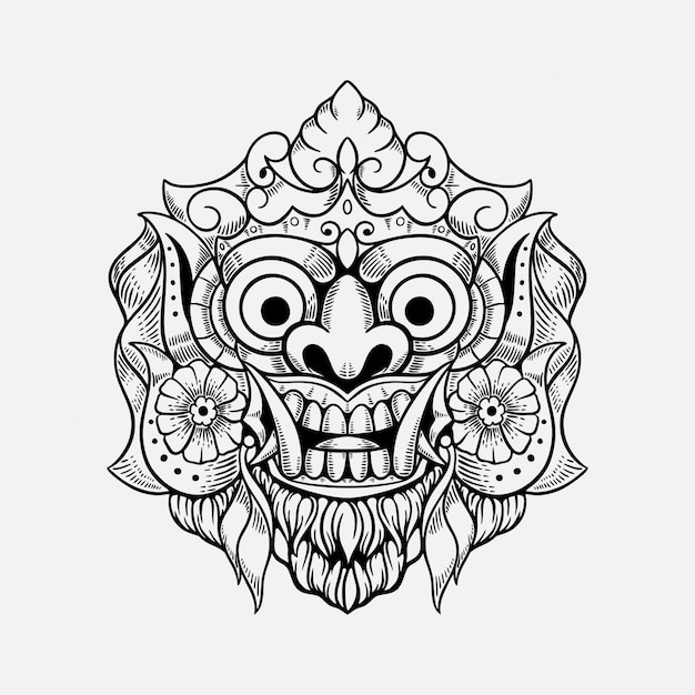 Masque De Démon Bali Indonésie Tshirt Design Illustration Vecteur Premium