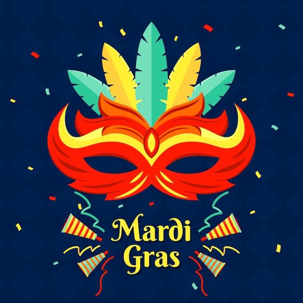 Masque De Design Plat Mardi Gras Et Confettis Vecteur gratuit