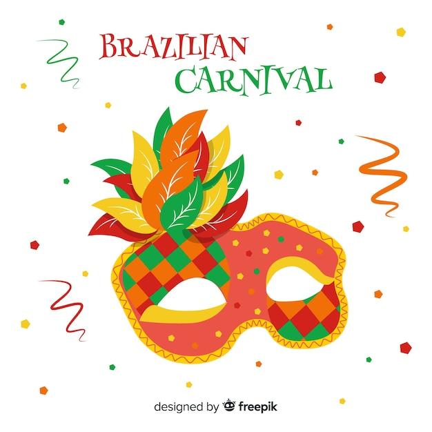 Masque dessiné à la main fond de carnaval brésilien Vecteur gratuit