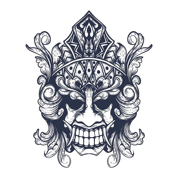Masque De Diable Balinais Vecteur Premium
