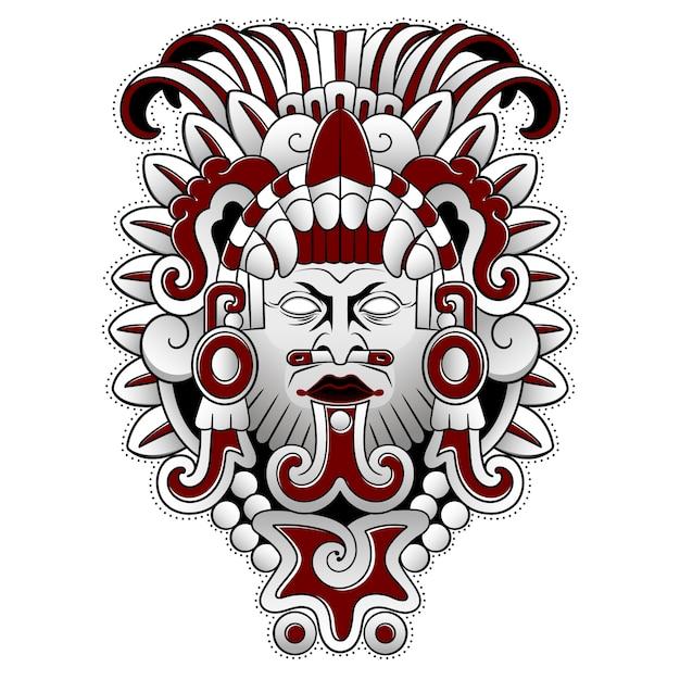 Masque Effrayant De Dieu Des Peuples Aztèques Vecteur Premium