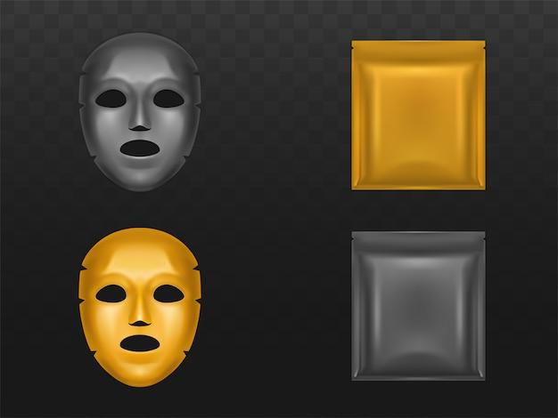 Masque facial en feuille d'or extensible dans une pochette en plastique scellée vierge Vecteur gratuit