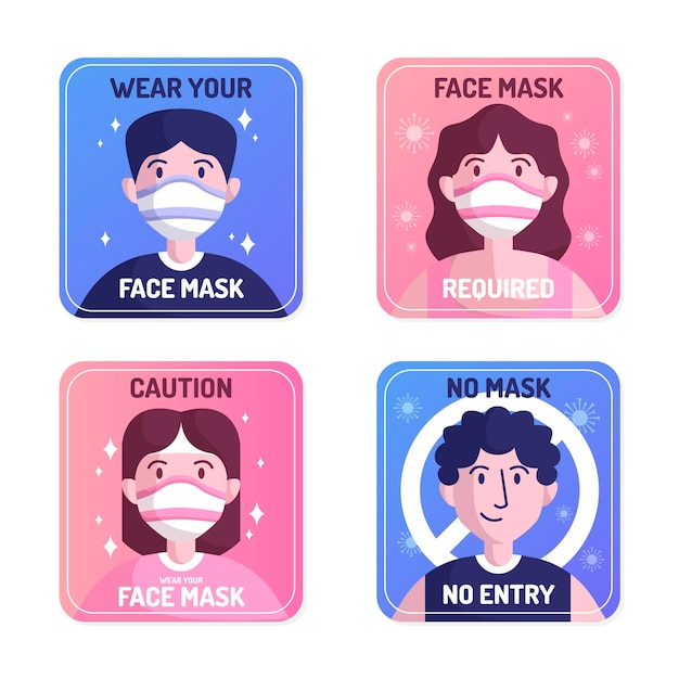 Masque Facial Requis - Collection De Panneaux Vecteur Premium