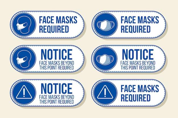 Masque Facial Requis - Collection De Panneaux Vecteur gratuit