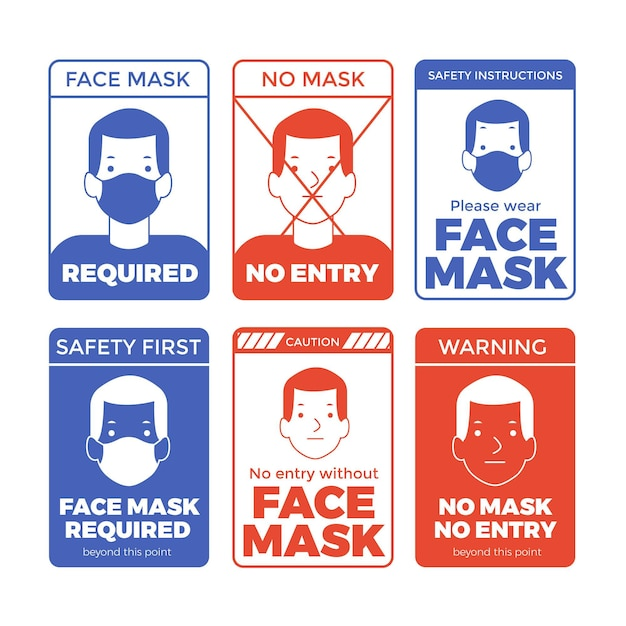 Masque Facial Requis Collection De Signes Vecteur Premium