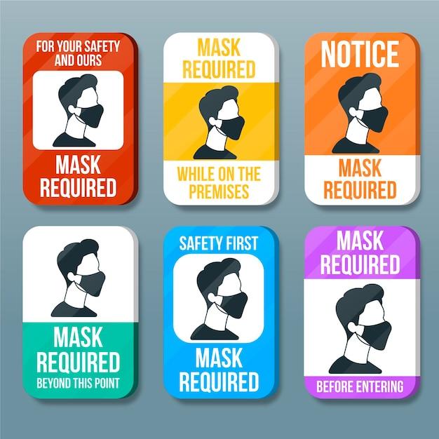 Masque Facial Requis Collection De Signes Vecteur gratuit